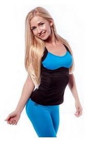 Майка для фитнеса женская Active Age 5.26 p.bbl (сuр) черная с голубым
