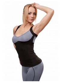 Майка для фитнеса женская Active Age 5.26 p.bg (сuр) черная с серым