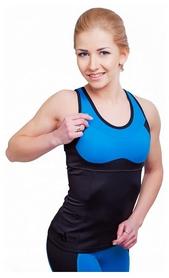 Майка для фитнеса женская Active Age 5.31 p.bbl (сuр) черная с голубым