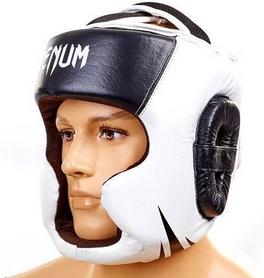Шлем боксерский кожаный Venum Challenger BO-5246-BK черный-белый