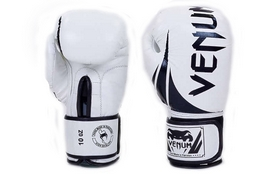 Перчатки боксерские кожаные Venum Challenger BO-5245-W бело-черные
