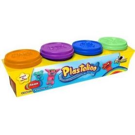 Набор массы для лепки Plastelino 4 цвета неон