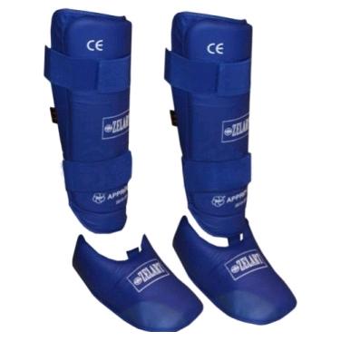 Защита для ног (голень+стопа) разбирающаяся PU ZLT синяя