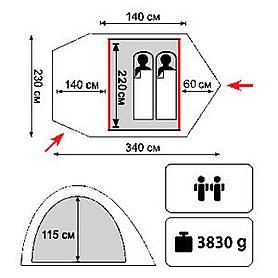 Фото 2 к товару Палатка двухместная Tramp Colibri Plus
