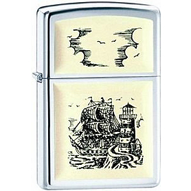 Зажигалка Zippo 359 Scrimshaw ship high polish chrome