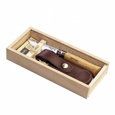 Нож складной Opinel 8 VRI дуб с кожаным чехлом