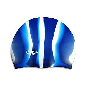 Шапочка для плавания Spurt Zebra силиконовая темно-синяя с белым