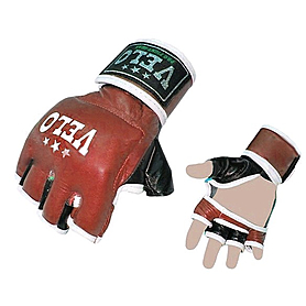 Перчатки без пальцев кожаные Velo Pro Fight (красные) - XL