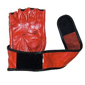 Фото 2 к товару Перчатки без пальцев кожаные Matsa (красные)