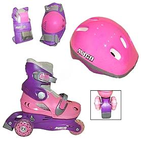 Фото 1 к товару Коньки роликовые Kepai LY2213 + шлем и защита Pink