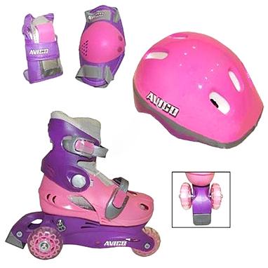 Коньки роликовые Kepai LY2213 + шлем и защита Pink