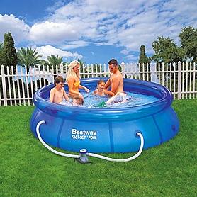 Фото 1 к товару Бассейн надувной с фильтр-насосом Fast Set Pool BestWay 57109 (305х76 см)
