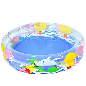 """Бассейн детский надувной прозрачный """"Морской мир"""" Bestway 51013 (102х20 см)"""