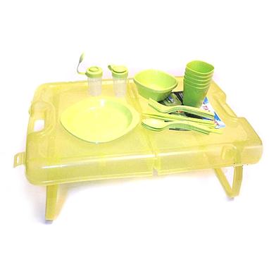 Набор посуды для пикника на 4 персоны + складной столик