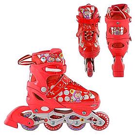 Фото 2 к товару Коньки роликовые раздвижные Profi Roller A4051-M красные