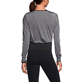 Фото 3 к товару Футболка женская Nike Epic Cool Touch LS Crew серая с черным