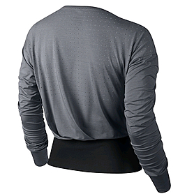 Фото 4 к товару Футболка женская Nike Epic Cool Touch LS Crew серая с черным