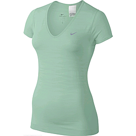 Футболка женская Nike Dri-Fit Knit Texture V-Neck зеленая