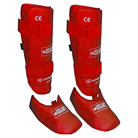 Защита для ног (голень+стопа) разбирающаяся PU ZLT красная