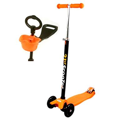 Самокат трехколесный с наклоном руля и толкателем 21st Scooter 4в1 M-39 оранжевый