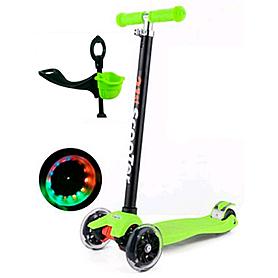 Фото 1 к товару Самокат трехколесный с наклоном руля и толкателем 21st Scooter 4в1 G-38 зеленый