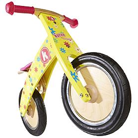 """Беговел детский Kiddi Moto Kurve 12"""" (карвэ) жёлтый с цветами"""