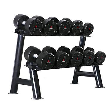 Набор профессиональных гантелей PU 200 кг + стойка ZLT 200