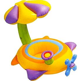 """Плотик детский """"Самолетик"""" Intex 56580 (142х80 см) с навесом"""