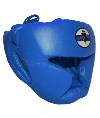 Шлем боксерский с полной защитой MATSA синий - фото 1