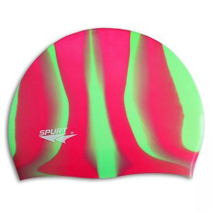 Фото 1 к товару Шапочка для плавания Spurt Zebra силиконовая красная с зеленым 11-3-046