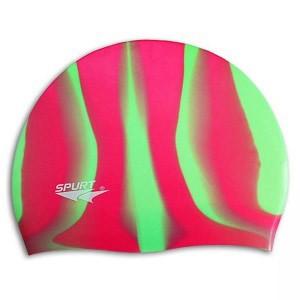 Шапочка для плавания Spurt Zebra силиконовая красная с зеленым 11-3-046 - фото 1