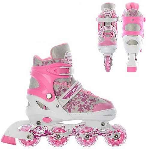 Коньки роликовые детские раздвижные Profi 5033 розовые - фото 1