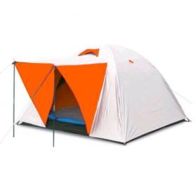 Палатка трехместная Mountain Outdoor (ZLT) 200х200х135 см двухслойная серебристая с оранжевым