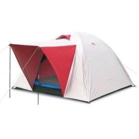 Палатка трехместная Mountain Outdoor (ZLT) 200х200х135 см двухслойная серебристая с красным
