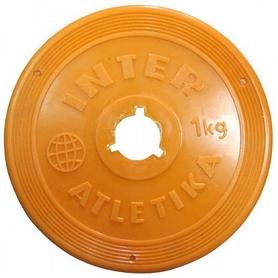 Фото 1 к товару Диск пластиковый 1 кг Inter Atletika цветной - 26 мм