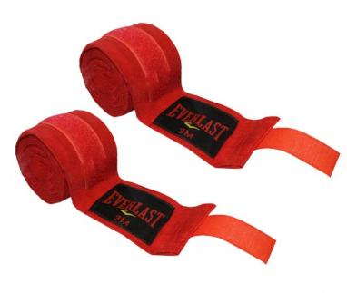 Бинт боксерский Everlast (3 м) красный (2 шт)