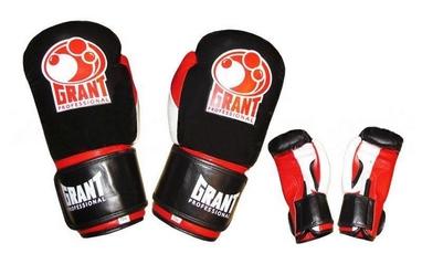 Перчатки боксерские Grant MA-1811-R кожаные черные с красным