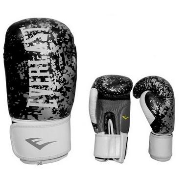 Перчатки боксерские Everlast BO-4227-BK кожаные черные с белым