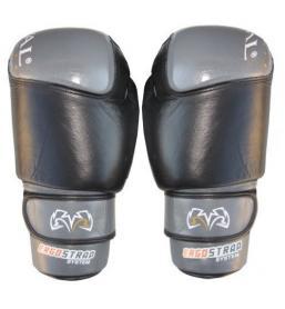 Перчатки боксерские Rival RIV-6001-BK кожаные черные с серым