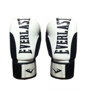 Перчатки боксерские Everlast BO-6161-BK кожаные черные с белым