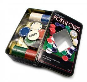 Набор для игры в покер в оловянном кейсе 100 фишек TC04100