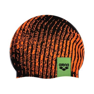 Шапочка для плавания Arena Poolish черно-оранжевая