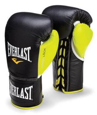 Перчатки боксерские (профессиональные) Everlast Powerlock Pro Fight Boxing Gloves зеленые