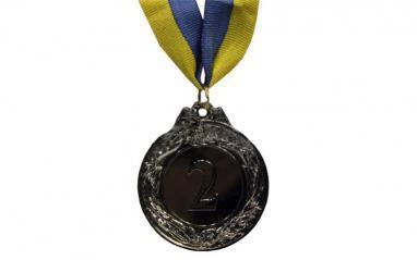 Медаль спортивная 2 место (серебро) 3639-2, 45 мм