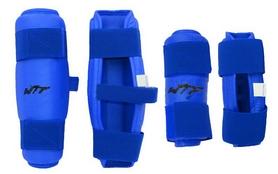 Фото 2 к товару Защита для тхэквондо (предплечье+голень) ZLT BO-4382-B синяя (4 шт)