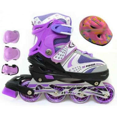 Коньки роликовые раздвижные + защита Scooter Combo G-180 фиолетовые