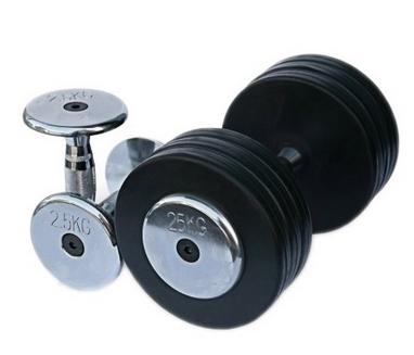 Гантельный ряд обрезиненный Alex 10 пар 2,5-25 кг