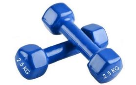 Фото 1 к товару Гантели виниловые Pro Supra 2 шт по 2,5 кг синие