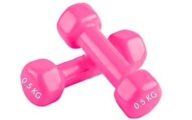 Гантели виниловые Pro Supra 2 шт по 0,5 кг розовые
