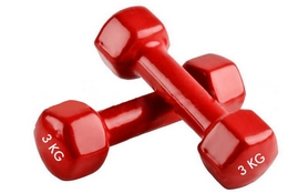 Фото 1 к товару Гантели виниловые Pro Supra 2 шт по 3 кг красные